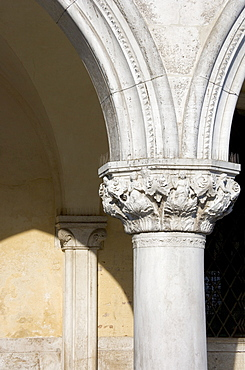 Column on the Doges' Palace Venice Italy