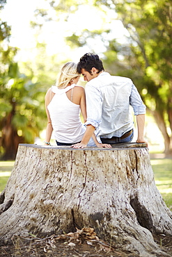 Couple sitting on tree stump