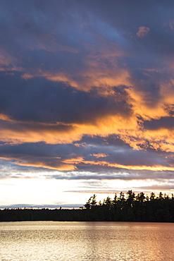 Usa, Maine, Cooper, Sunset at Cathance Lake