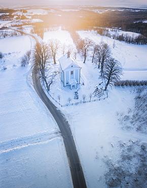 Poland, Subcarpathia, Malawa, Aerial view of village in winter