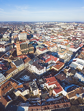 Poland, Lesser Poland, Tarnow, High angle view of city old town in winter
