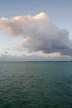 Cloudy sky above calm sea, French Polynesia, Raiatea