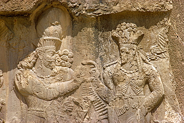 The Investiture of Narse by the goddess Anahit at Naqsh-e-Rustam dating from 3rd century AD, Iran, Middle East