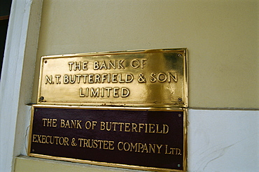 Bank nameplates, Hamilton, Bermuda, Atlantic, Central America