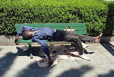 Sleeping on bench, Union Square area, San Francisco, California, United States of America, North America