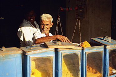 Elderly man at snack stall, Negombo, Sri Lanka, Asia