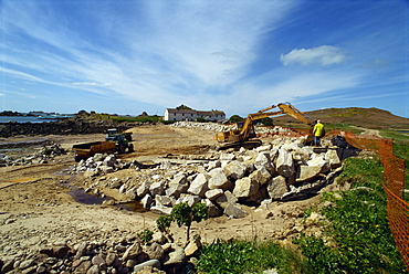 Building sea defences, Bryer, Isles of Scilly, United Kingdom, Europe
