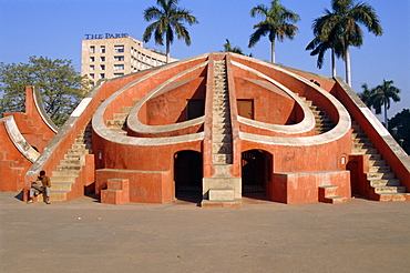 The Jantar Mantar, one of five observatories built by Sai Singh II in 1724, Delhi, India