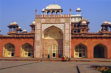 The Moghul emperor Akbar the Great's Mausoleum, built in 1602, at Sikandra, Agra, Uttar Pradesh, India