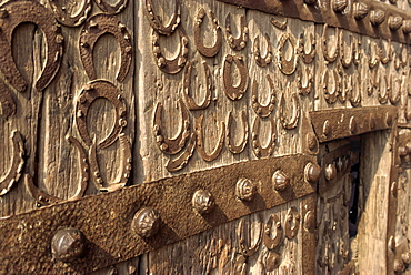 Horseshoes on wall at Fatehpur Sikri, built by Akbar in 1570, Uttar Pradesh state, India, Asia