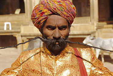 Man with very long moustache, Jaisalmer, Rajasthan, India