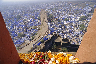View from the fort to the blue quarter of Brahmin caste residents, Jodhpur, Rajasthan, India