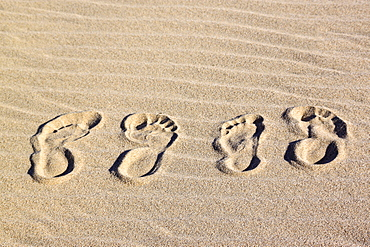 Two foot prints in the sand, St. Lucia Wetlands, Kwa-Zulu Natal, South Africa, Africa