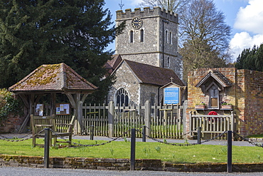 The Church of St. John the Baptist, a 12th century church, in Little Marlow, Buckinghamshire, England, United Kingdom, Europe