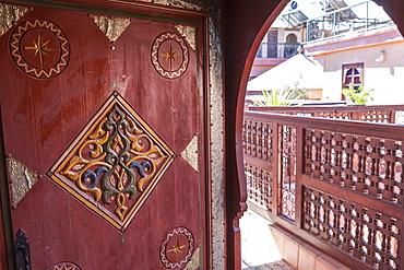 An ornate doorway in Riad Amsaffah, Marrakech, Morocco, North Africa, Africa