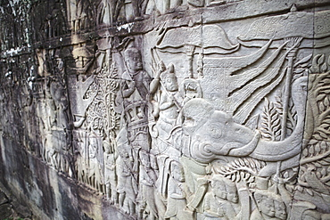 Carvings in stone depicting a king riding an elephant, Angkor Wat, UNESCO World Heritage Site, Siem Reap, Cambodia, Indochina, Southeast Asia, Asia