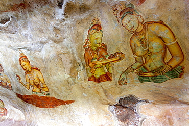 Sigiriya (Lion Rock) frescoes or ancient wall paintings, UNESCO World Heritage Site, Sri Lanka, Asia