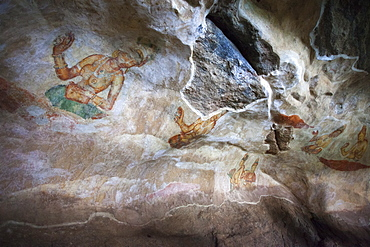 Sigiriya (Lion Rock) frescoes or ancient wall paintings, UNESCO World Heritage Site, Sri Lanka, Asia