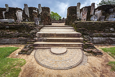 Entrance to Kiri Vihara Buddhist temple ruins with moonstone at entrance, Polonnaruwa, UNESCO World Heritage Site, Sri Lanka, Asia