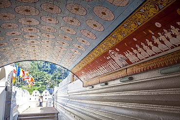 Wall and ceiling murals inside the Temple of the Sacred Tooth Relic, Kandy, Sri Lanka