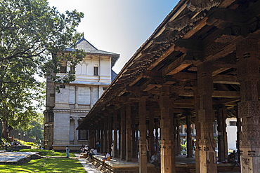 The stone columns of the open air Audience Hall, Temple of the Sacred Tooth Relic, UNESCO World Heritage Site, Kandy, Sri Lanka, Asia