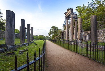 The Ruins, originally from Leptis Magna, a Roman town near Tripoli, Virgina Water, Surrey, England, UK, Europe