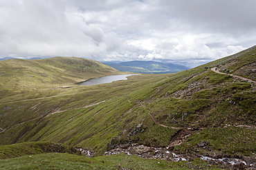 A view of Lochan Meal An T-suidhe, taken from the Mountain Track (Tourist Route), Ben Nevis, Highlands, Scotland, United Kingdom, Europe