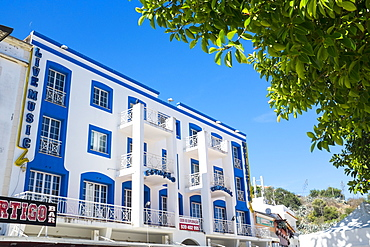 Art deco inspired building in the Old Town, Albufeira, Algarve, Portugal, Europe