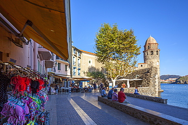 Beachfront and shops, Collioure, Pyrenees-Orientales, Languedoc Roussillon, France, Europe