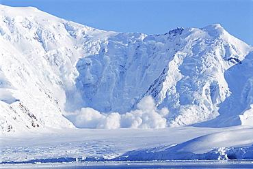 Avalanche, Paradise Bay Peninsula, Antarctica, Southern Ocean.