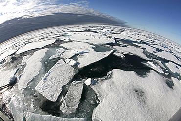 Arctic pack ice, Spitsbergen Norway, Arctic Ocean through a fisheye lens