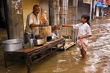 The waterlogged street in Varanasi  after heavy rain. Varanasi, Uttar Pradesh India