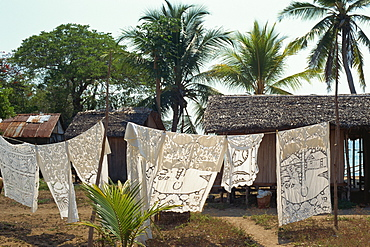 Decorated tablecloths for sale, Nosy Komba, off Nosy Be, Madagascar, Africa