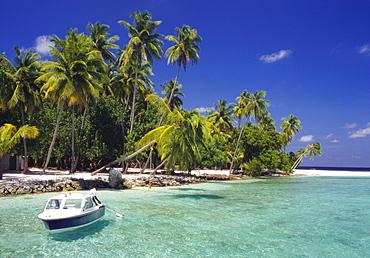 Boat Moored Off the Coast of Kuda Bandos, North Male Atoll, Maldives
