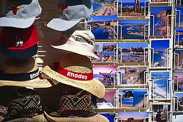 Postcards and hats for sale, Rhodes, Dodecanese, Greek Islands, Greece, Europe