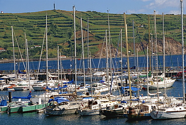 Yacht anchorage, Horta, Faial, Azores, Portugal, Atlantic, Europe