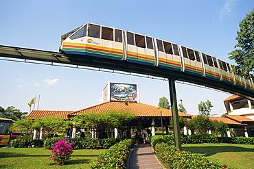 Monorail passes above Underwater World on Sentosa Island, Singapore, Southeast Asia, Asia