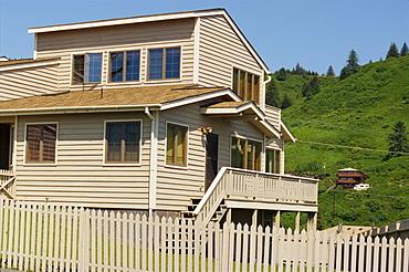 Clinker board house at Kodiak on Kodiak Island, Alaska, United States of America, North America