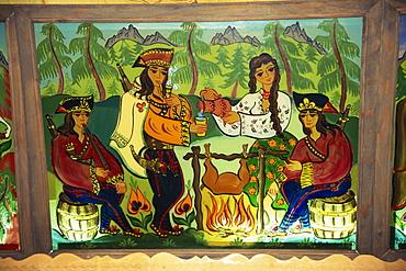 Glass panels of folk art at Redykokka Restaurant, Zakopane, Makopolska, Poland, Europe