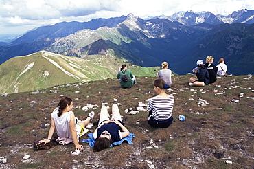 Resting on Maty Kaczniak, Tatra Mountains, Makopolska, Poland, Europe