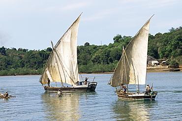 Sailboats, Nosy Be Island, Madagascar, Indian Ocean, Africa