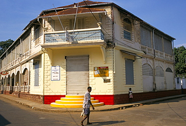 Colonial style building, Hellville (Andoany), Nosy Be island, Madagascar, Africa