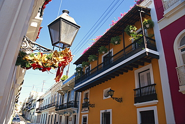 Balconies on typical street in the Old Town, San Juan, Puerto Rico, Central America