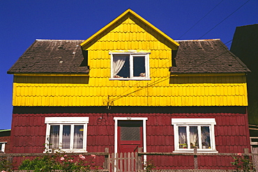 Shingle tiled house, Puerto Montt, Chile, South America