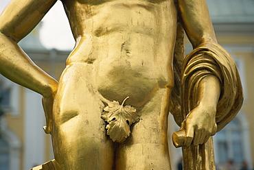 Detail of statue, Petrodvorets, St. Petersburg, Russia, Europe