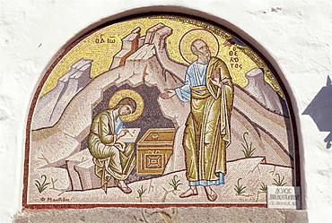 Mosaic of St. John dictating to pupil Prochorus, Cave of Apocalypse, Patmos, Dodecanese, Greek Islands, Greece, Europe