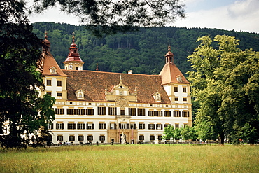 The Baroque Schloss Eggenberg, Italian Pietro de Pomis designed this allegory of universal order, with 24 state rooms, Graz, Styria, Austria, Europe