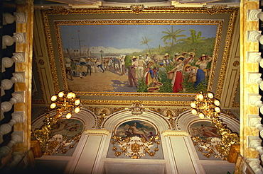 Painting by Villa showing exports, National Theatre, Costa Rica, Central America