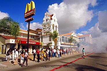 Exploding fireworks near a McDonalds restaurant, for New Year's Eve celebrations, Oranjstad, Aruba, Caribbean, Central America