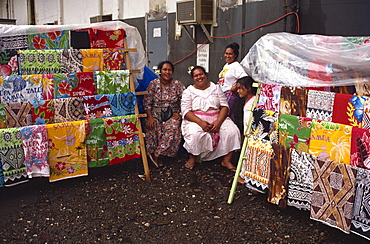 Vendors with printed cotton fabrics, Pago Pago, U.S. Samoa, Pacific Islands, Pacific